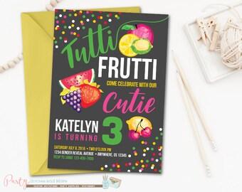 Tutti Frutti Invitation, Tutti Frutti Birthday Invitation, Fruit Invitation, Fruit Birthday Invitation, Tutti Frutti Party, Fruit Party