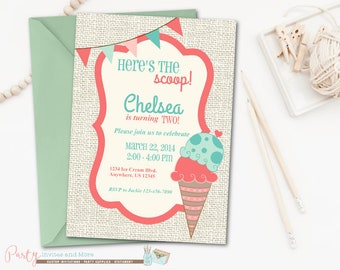 Ice cream invitation Etsy