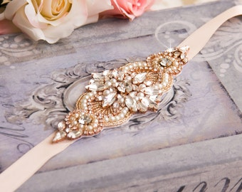 Rose Gold Wedding Bracelet, Rose Gold Bridal bracelet, Bridal Crystal Bracelet, Bridal Cuff Bracelet, Rose Gold Crystal Bracelet