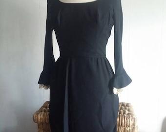 Summer Sale Vintage 60's Another Ann Barry Jr. Mod Black Bell Sleeve Wiggle Dress