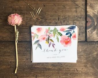 Customized Wedding Thank You Cards. Custom Floral Watercolor Thank You Cards. Wedding Gift. Wedding Stationery. Custom Wedding Cards.