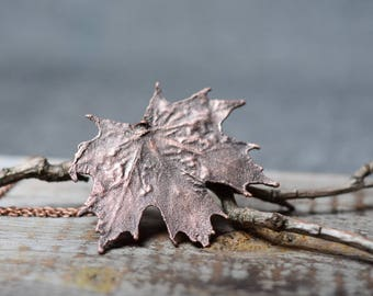leaf necklace womens gift botanical jewelry electroplated maple leaf necklace copper electroformed pendant nature jewelry