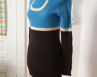 Vintage Knit Blue and Brown Sweater Dress Turtle Neck 70s Women Sz S