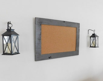 INDUSTRIAL CORK BOARD -Large Framed Bulletin Board - Rustic, Distressed Wood - Shown in Graphite Gray - 24 x 36 - Choose Color