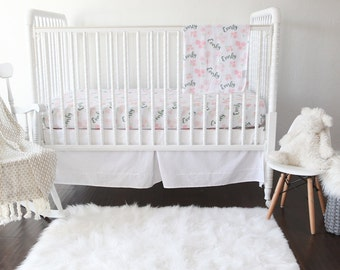 Personalized Fitted Crib Sheet - English Rose  / Crib sheets / Personalized / Nursery Bedding