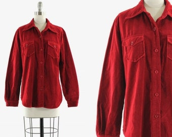 red velvet shirt • red velvet button down • 1990s Gap shirt M/L