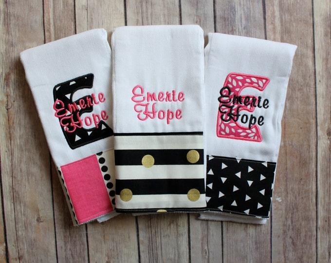 Baby Girl Burp Cloth Set, Monogrammed Baby Girl Burp Cloth, Personalized Baby Girl Gift, Pink Black Gold Baby Gift, Personalized Girl Burp