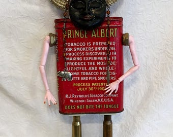 Prince Albert Vintage Tin Doll,Junk Art,Outsider Art Doll,Cube Sitter,LGBTQ Dol,Recycled Assemblage Art Doll,Coming Out,Tobacco Tin Upcycled