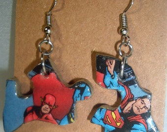 Flash Comic Book Recycled Puzzle Dangle Earrings