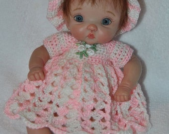 "Crochet dress set for your ooak 7"" mini baby"