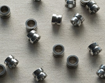 Chunky pipe-shaped column bead, stainless steel, industrial chic, 5, 10 or 25 pieces