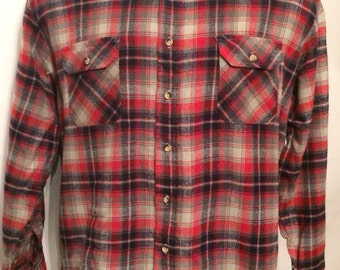 Vintage MENS Outreach red, grey, blue & white plaid flannel shirt