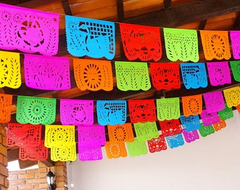 Cinco de Mayo, 5 Pack Banners, Paper Mexican Banner 12 Feet Long, Aztec home decor, Paper picado Garland, Fiesta Decoration, Papel Picado