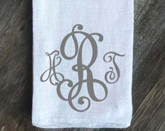 Monogrammed Flour Sack Towel, Wedding Gift, Anniversary Gift, Housewarming Gift, Fancy Vintage Monogram Font Gray