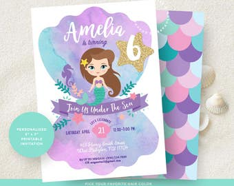 mermaid invitation  etsy, invitation samples