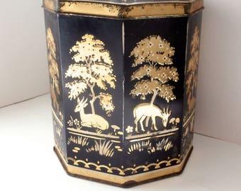 Decorative Tins - Black and Gold - Vintage Tin - Biscuit Tin - Vintage Home Decor