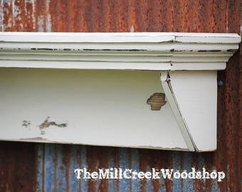 "Shelf 36"" Distressed Wall Shelf Ledge Mantle Entryway Organizer Floating Fireplace Mantel Farmhouse Barn Rustic Home Decor"