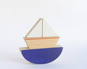 Wooden Balancing Toy Boat - Ecofriendly Kids Toy  - Blue Sea and Little Boat Puzzle Toy.