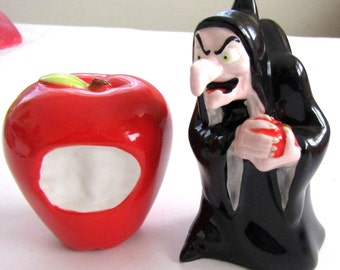Snow White WITCH  and Bitten POISON  APPLE Ceramic Salt & Pepper Shakers  Disney