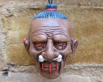 Brown Shrunken Head Ceramic Dangler Dead Head Danglers tsantsa