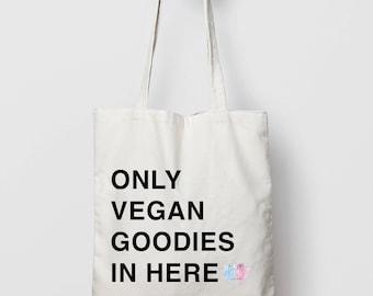 Vegan Tote Bag // Vegan Canvas Bag // Organic Cotton Eco Bag // Funny Tote // Vegan Shopper Bag