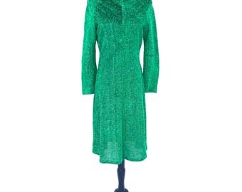 60's vintage green metallic lurex retro long sleeve knee length mid century party dress MEDIUM