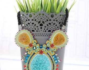 Colorful soutache necklace, Statement soutache necklace, Soutache jewelry, Turquoise necklace, Embroidered necklace, Multicolor necklace