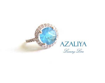 Silver Plated Princess Ring. Zirconia Ring. Engagement Ring. Ring with Stone. Blue Ring. Blue Stone Ring. Ring Gift.