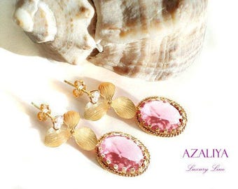 Pink Orchid Chandeliers on Zirconia Studs. Azaliya Luxury Line. Bridal Chandeliers, Bridesmaids Earrings. Gift Wrapping.