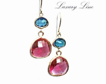 London Blue & Raspberry Earrings. Azaliya Luxury Line.