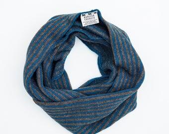 Stripe Snood - Lambswool Merino - Teal / Brown - Yak Yarn