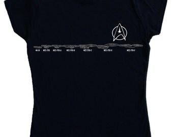 Ladies -  USS ENTERPRISE Evolution T-shirt - Star Trek NCC-1701 A B C D E star fleet