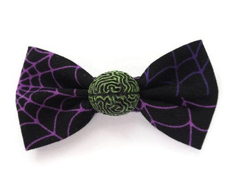 creepy spiderweb hair bow with zombie brain -  gore goth hair clip - halloween psychobilly hair accessory