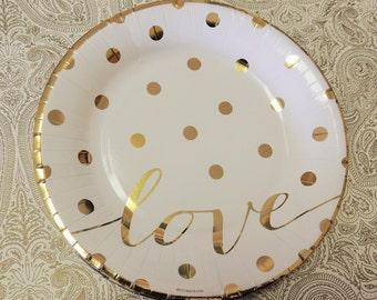 Gold Foil Polka Dot Love Paper Dinner Plates Wedding Glam Valentine's Day Party Set of 10