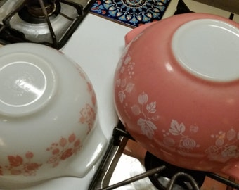 Reserved for Yvette - Pyrex Pink Gooseberry Cinderella Mixing Bowls Pair #443 #444 Large Vintage