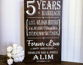 5 Years of Marriage, 5th Anniversary Gift, Anniversary Wood, Milestone Anniversary, Gifts for Him, Anniversary Stats Sign, Forever Love