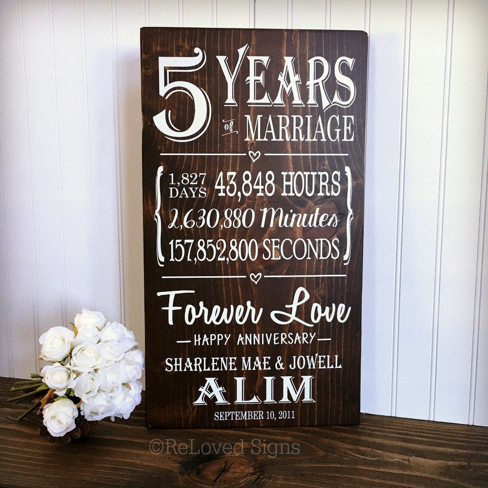 5 Years Of Marriage 5th Anniversary Gift Anniversary Wood