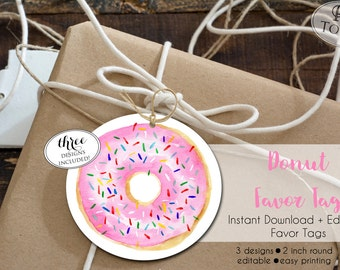 INSTANT Download - Donut Favor Tag - EDITABLE Pink Donut Birthday Party - Donut Thank You - DIY Donut Gift Tag - Party Favor Tag 0233 0234