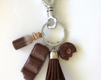 Chocolate dessert donut bag charm, dessert keychain, chocaholic miniature