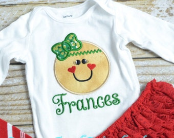 Girls Christmas Gingerbread shirt personalized, personalized girls christmas outfit, gingerbread girl outfit!  Monogrammed Christmas outfit