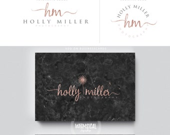 rose gold dandelion initials feminine businesscards  simple modern feminine branding- logo Identity artist makeup wedding photographer