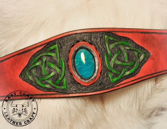Celtic Knot-Work Triquetra Gemstone Leather Cuff