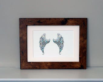 Angel Wings Art Print Angel Wings Wall Art Shabby Chic Home Decor Signed