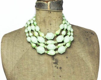 Vintage Green Multi Strand Necklace, Green Bead Necklace, Chunky Green Necklace, Green Beaded Necklace