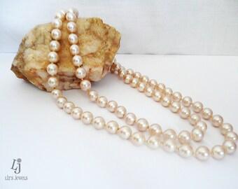 Vintage Monet Long Pink Pearl Necklace, faux pearl, reclaimed pearls, pearl necklace, Monet, pink pearl