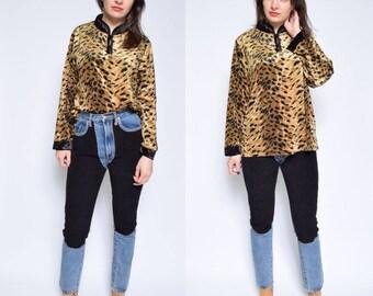 Vintage 80's Velvet Leopard Print Top / Velvet Leopard Print Long Sleeve Blouse - Size Medium