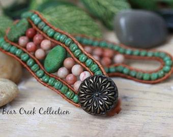 "Rustic Beaded Leather Wrap Bracelet, Cuff, Stone Texture Turquoise Green, Jasper Semi Precious Stone, 6 1/2"" Wrist, Single Leather Wrap"