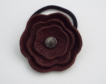 Burgandy Leather Flower Ponytail with Silver Center