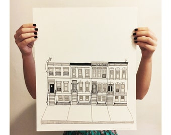 Clifton Place Between Bedford And Nostrand drawing