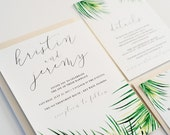 Tropical Wedding Invitation, Palms, Watercolor:  KRISTIN.